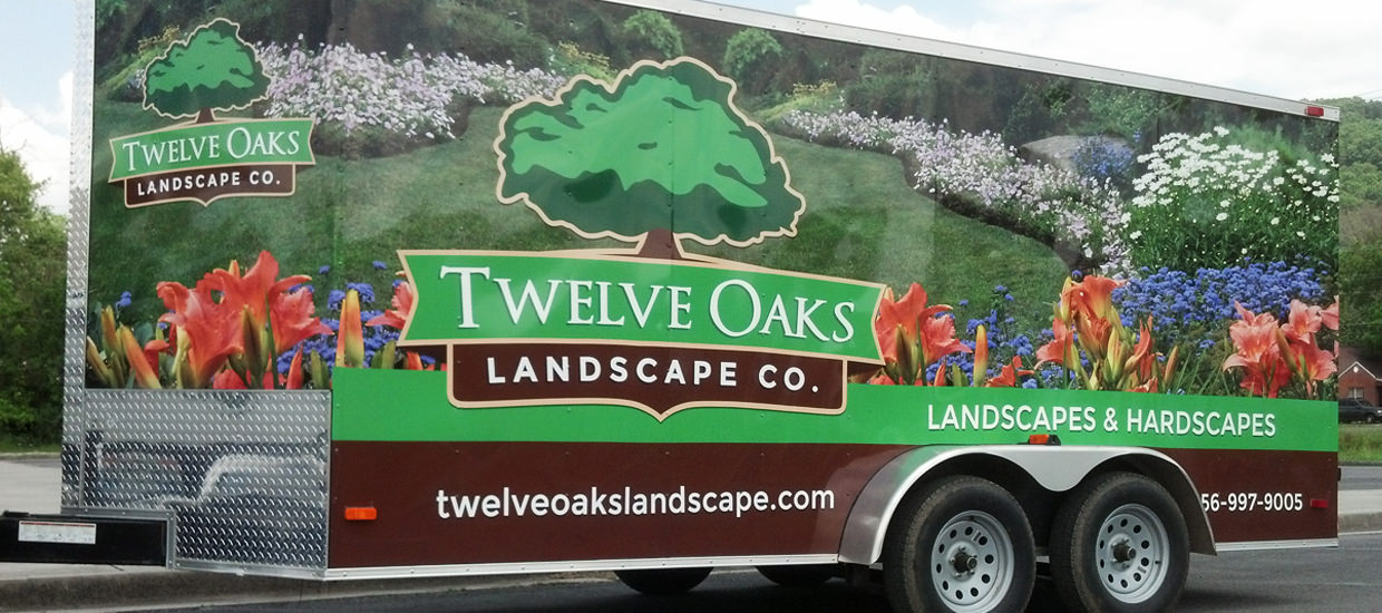 Trailer wrap design for Twelve Oaks Landscape Co., an Alabama landscaping company.