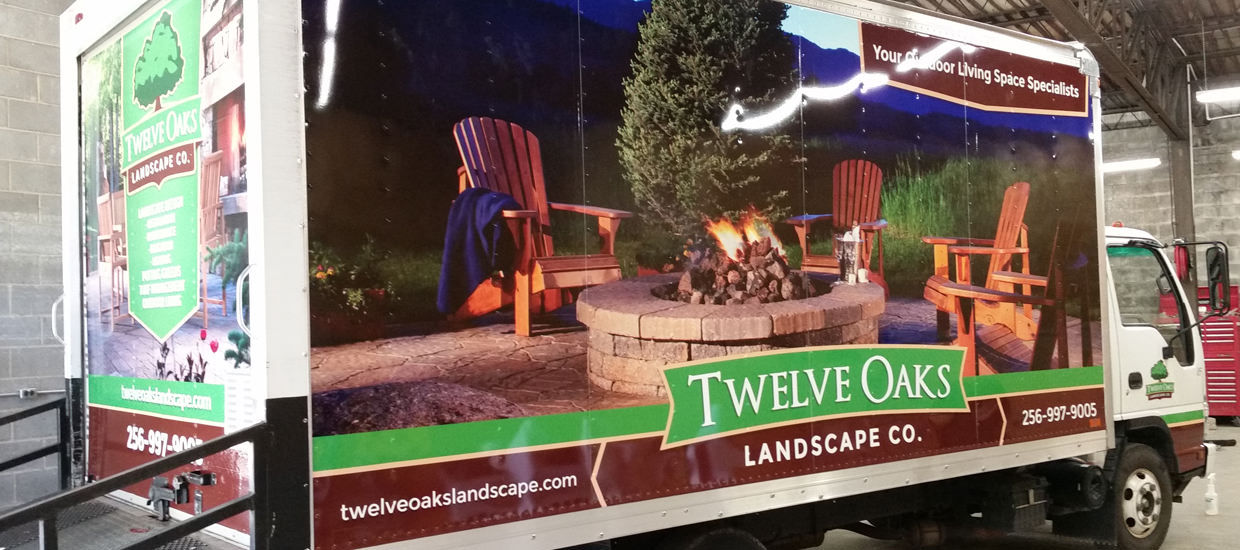 Box truck wrap design for Twelve Oaks Landscape Co.