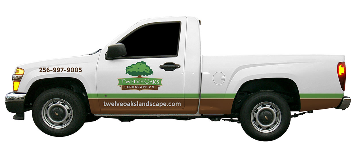 Partial truck wrap design for Twelve Oaks Landscape Co., a Northeast Alabama landscaping company.
