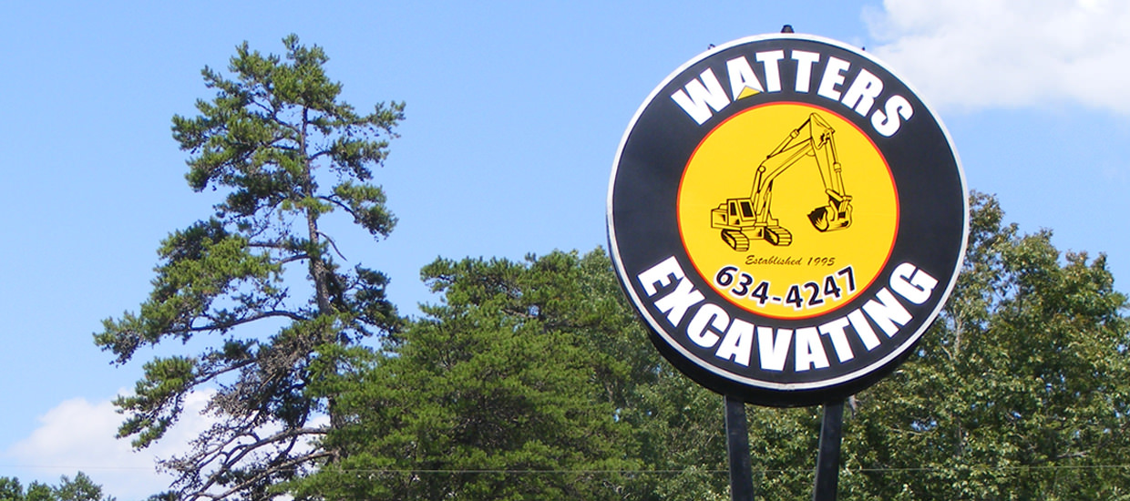 Sign for Watters Excavating, an excavating firm located in Mentone, Alabama.