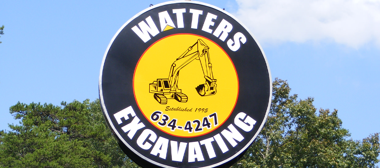 Sign for Watters Excavating, an Alabama excavating firm.