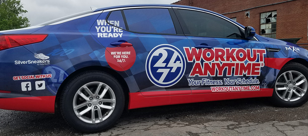Vehicle Wrap Design for Workout Anytime, a fitness center.