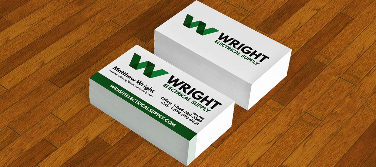Branding is a consistent make up of all your advertising efforts, See how well the logo and colors worked on these business cards.