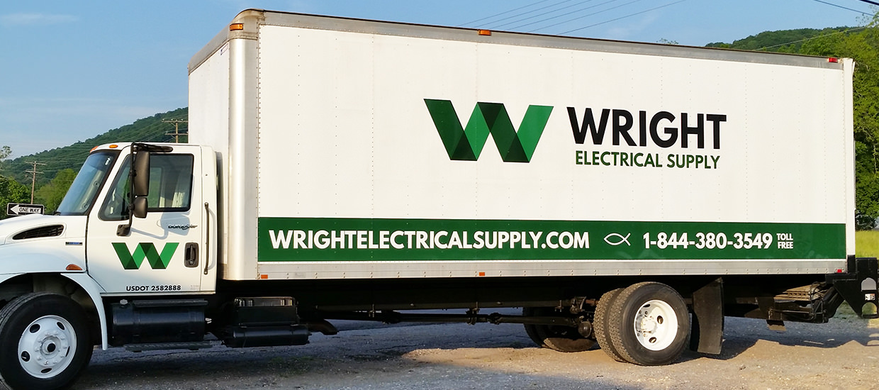 Box truck graphics for Wright Electrical Supply, an Alabama-based electrical supply company.