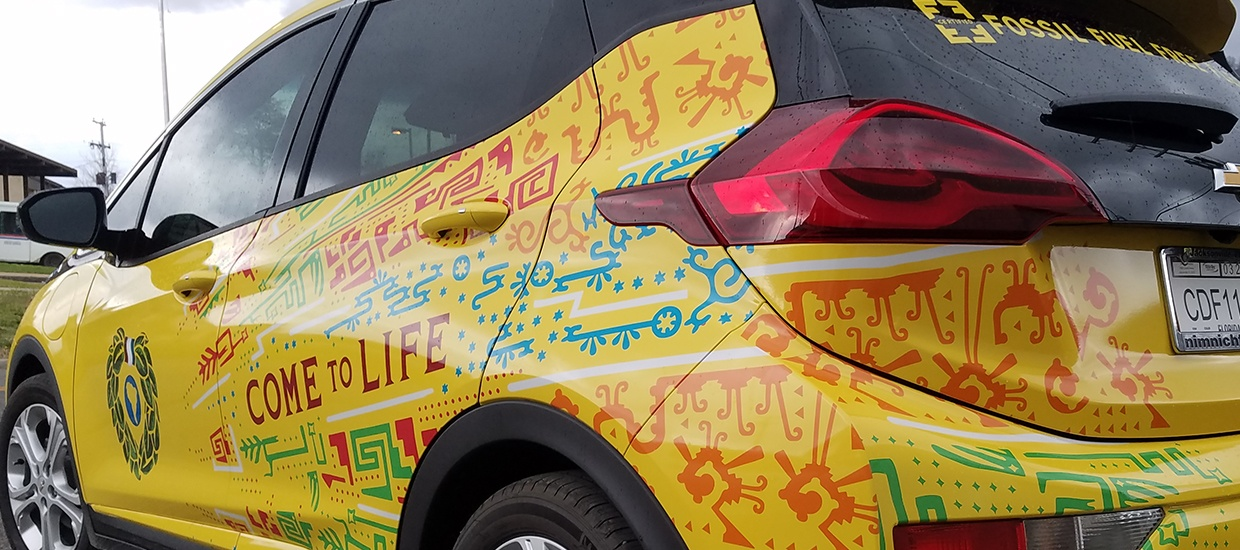 Car wrap installation for Yerbamate.