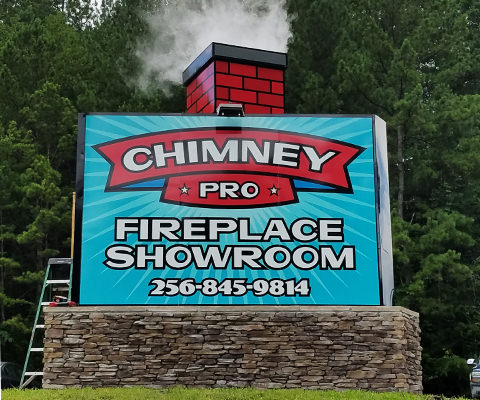 Chimney Pro 3D Sign with Smoke