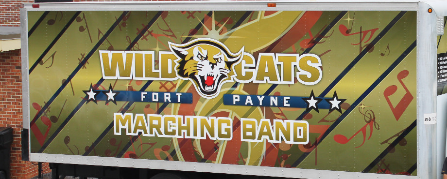 High school band equipment box truck wrap